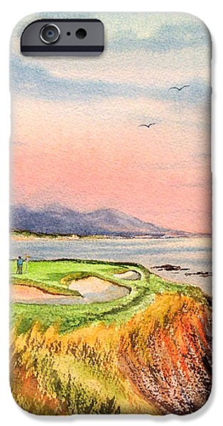Pebble Beach Golf course Hole 7 iPhone Case by Bill Holkham