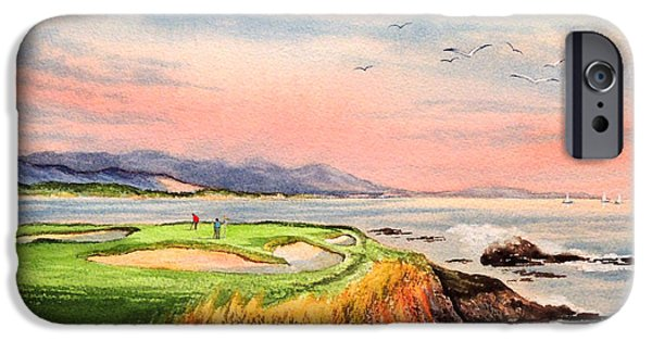 Us Open iPhone Cases - Pebble Beach Golf course Hole 7 iPhone Case by Bill Holkham