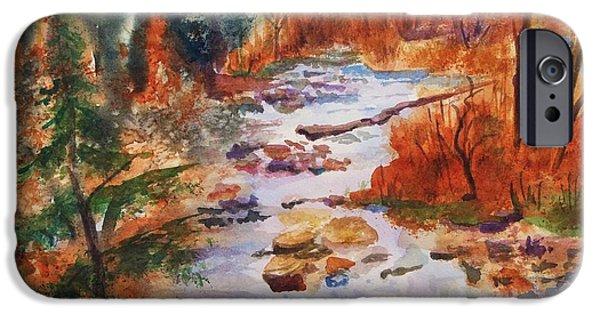 Tree Art Print iPhone Cases - Pebbled Creek iPhone Case by Ellen Levinson