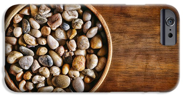 Pebbles iPhone Cases - Pebbles in Wood Bowl iPhone Case by Olivier Le Queinec