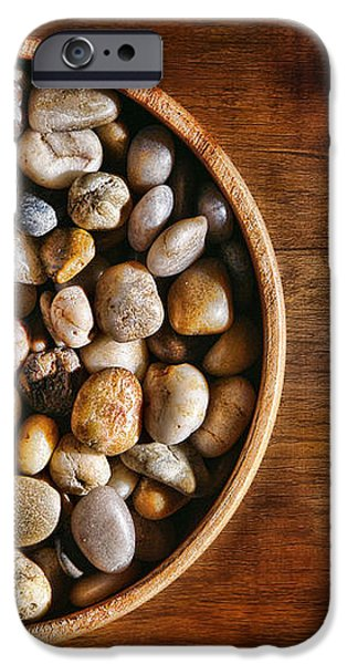 Pebbles in Wood Bowl iPhone Case by Olivier Le Queinec