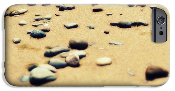 Photo Collage iPhone Cases - Pebbles on the Beach iPhone Case by Michelle Calkins