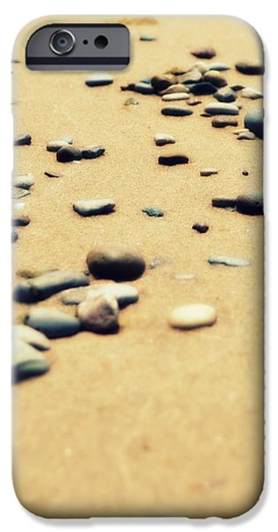 Pebbles on the Beach iPhone Case by Michelle Calkins