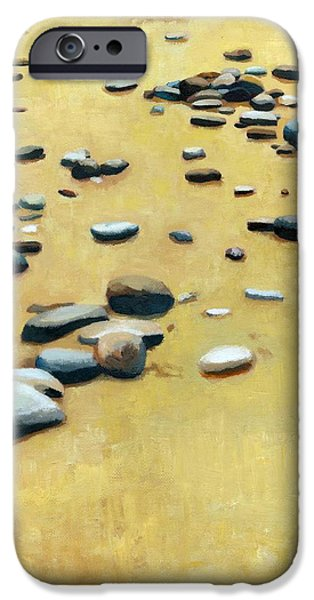 Pebbles on the Beach - Oil iPhone Case by Michelle Calkins
