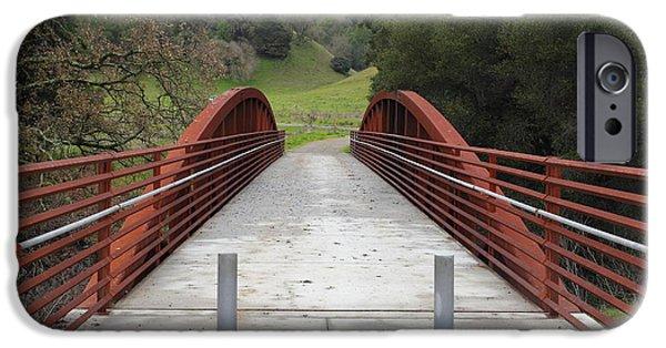 Oak Creek iPhone Cases - Pedestrian Bridge Fernandez Ranch California - 5D21031 iPhone Case by Wingsdomain Art and Photography