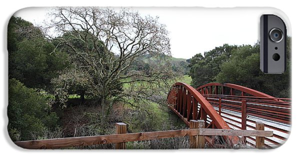 Oak Creek iPhone Cases - Pedestrian Bridge Fernandez Ranch California - 5D21033 iPhone Case by Wingsdomain Art and Photography
