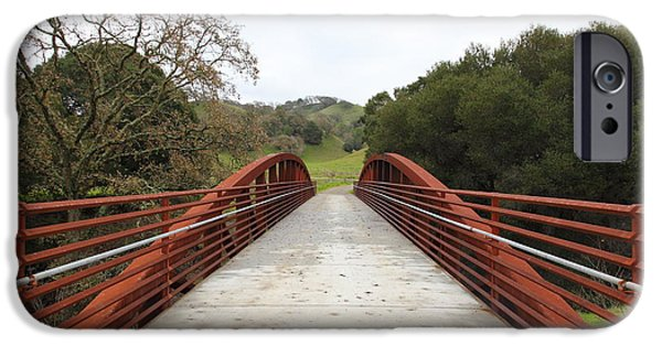 Oak Creek iPhone Cases - Pedestrian Bridge Fernandez Ranch California - 5D21034 iPhone Case by Wingsdomain Art and Photography