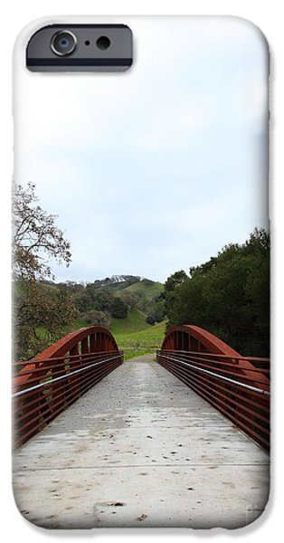 Oak Creek iPhone Cases - Pedestrian Bridge Fernandez Ranch California - 5D21035 iPhone Case by Wingsdomain Art and Photography