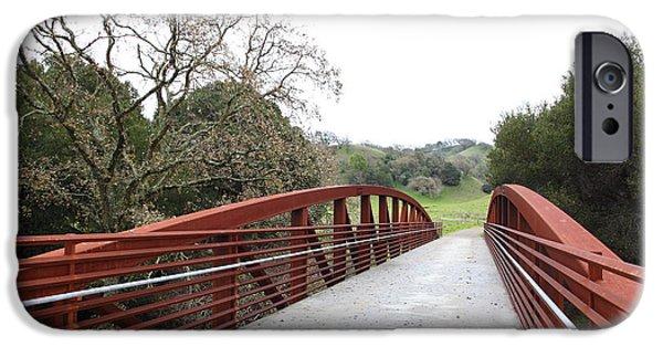 Oak Creek iPhone Cases - Pedestrian Bridge Fernandez Ranch California - 5D21038 iPhone Case by Wingsdomain Art and Photography