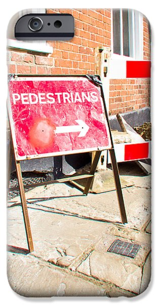 Regulations iPhone Cases - Pedestrian sign iPhone Case by Tom Gowanlock