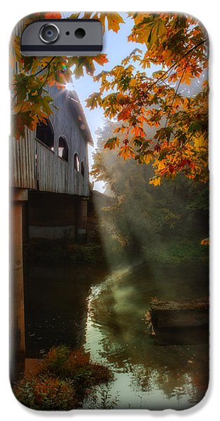 Covered Bridge iPhone Cases - Peek at Fall iPhone Case by James Heckt
