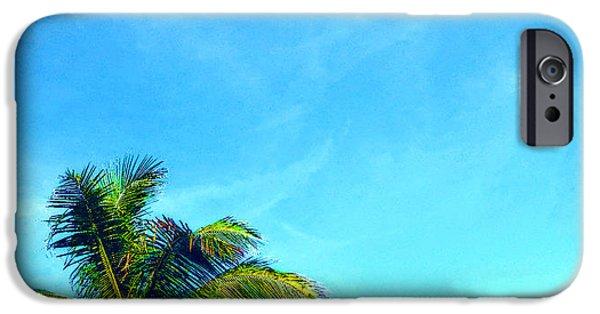 Puerto Rico iPhone Cases - Peekaboo Palm - Tropical Art By Sharon Cummings iPhone Case by Sharon Cummings