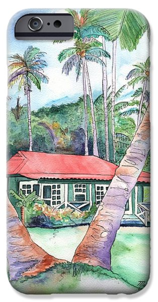 Plantation iPhone Cases - Peeking Between the Palm Trees 2 iPhone Case by Marionette Taboniar