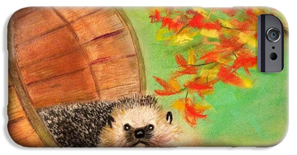 Autumn Scenes Pastels iPhone Cases - Peevish Porcupine iPhone Case by Renee Michelle Wenker