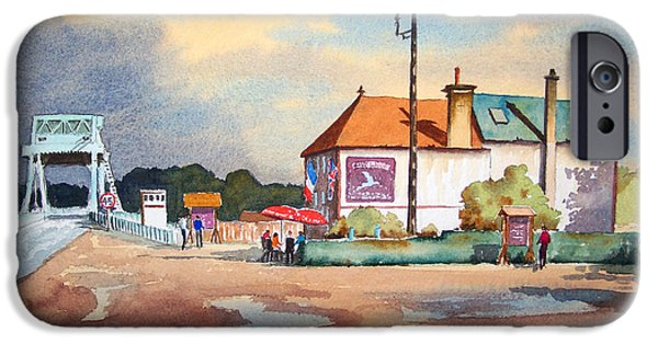Liberation Paintings iPhone Cases - Pegasus Bridge and Cafe Gondree iPhone Case by Bill Holkham