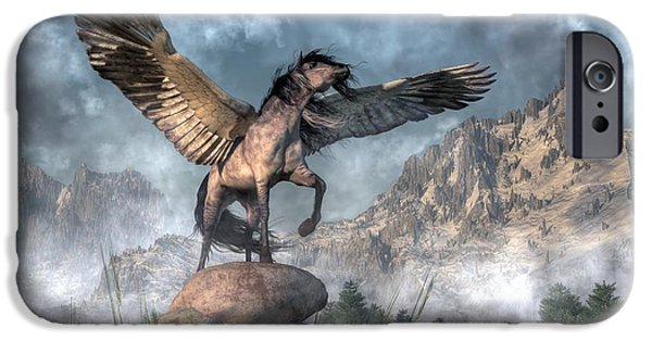 Zeus iPhone Cases - Pegasus iPhone Case by Daniel Eskridge
