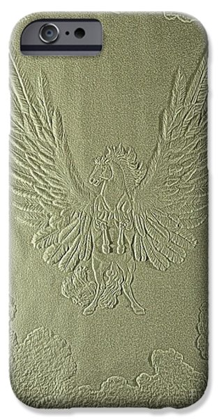 Flight Reliefs iPhone Cases - Pegasus Embossing Cont L iPhone Case by Dale Crum