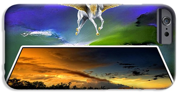 Horse iPhone Cases - Pegasus in Flight iPhone Case by Marvin Blaine