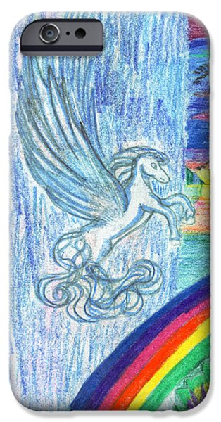 Extinct And Mythical Drawings iPhone Cases - Follow the Rainbow iPhone Case by Kd Neeley