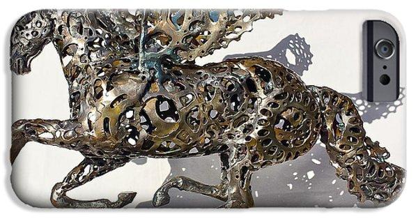 Transportation Sculptures iPhone Cases - Pegasus iPhone Case by Pierre Riche