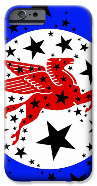 Red White And Blue Mixed Media iPhone Cases - Pegasus iPhone Case by Russell Pierce