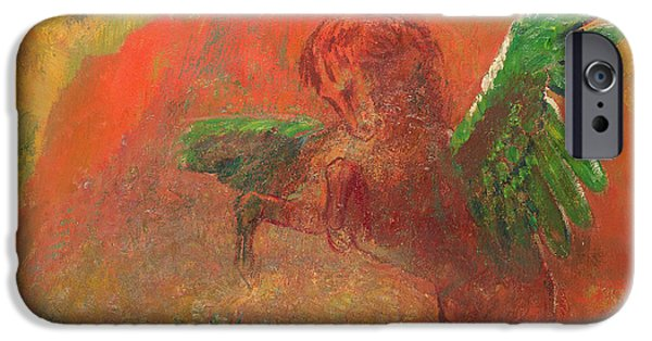 Serpent Photographs iPhone Cases - Pegasus Triumphant iPhone Case by Odilon Redon