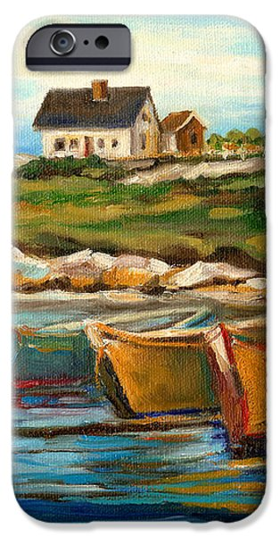 PEGGYS COVE WITH FISHING BOATS iPhone Case by CAROLE SPANDAU