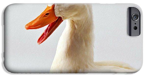 Close Focus Nature Scene Paintings iPhone Cases - Pekin ducks 1 iPhone Case by Lanjee Chee