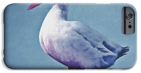 Close Focus Nature Scene Paintings iPhone Cases - Pekin ducks 2 iPhone Case by Lanjee Chee