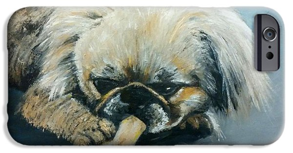 Pekingese iPhone Cases - Pekinese and the Bone iPhone Case by Isabella F Abbie Shores LstAngel Arts