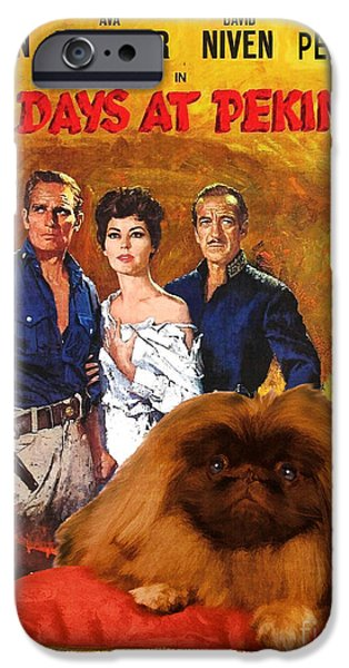 Pekingese iPhone Cases - Pekingese Art - 55 Days in Peking Movie Poster iPhone Case by Sandra Sij
