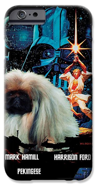 Pekingese iPhone Cases - Pekingese Art - Star Wars Movie Poster iPhone Case by Sandra Sij
