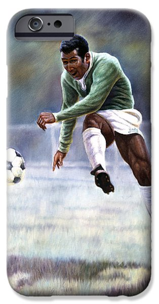 Champion Mixed Media iPhone Cases - Pele iPhone Case by Gregory Perillo