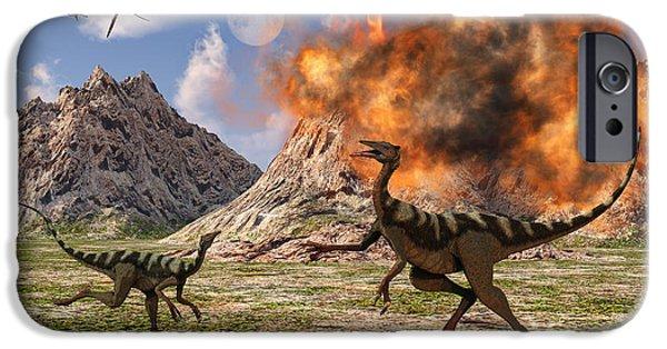 Wildlife Disasters iPhone Cases - Pelecanimimus Dinosaurs Fleeing iPhone Case by Mark Stevenson