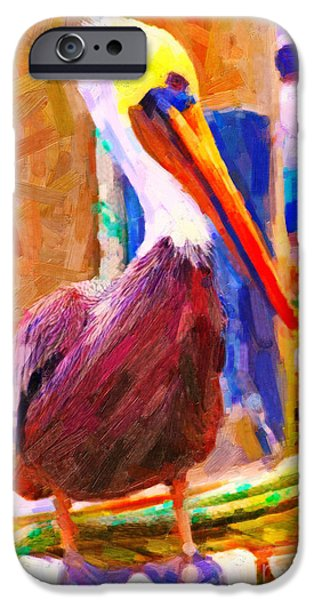 Pillars iPhone Cases - Pelican On The Dock iPhone Case by Wingsdomain Art and Photography