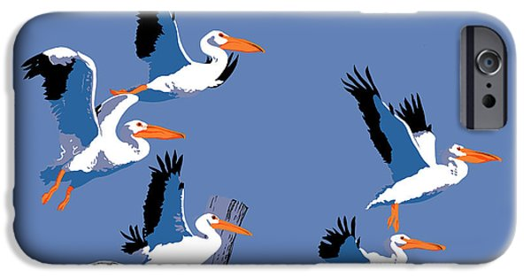 Abstract Seascape iPhone Cases - Pelicans In Flight Tropical Seascape - Abstract - Square Format iPhone Case by Walt Curlee