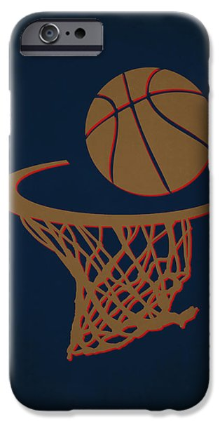 Dunk iPhone Cases - Pelicans Team Hoop2 iPhone Case by Joe Hamilton