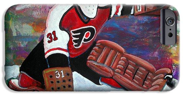 Best Sellers -  - Hockey Paintings iPhone Cases - Pelle Lindbergh iPhone Case by Steve Benton
