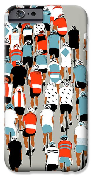 Contemporary Art Drawings iPhone Cases - Peloton iPhone Case by Eliza Southwood