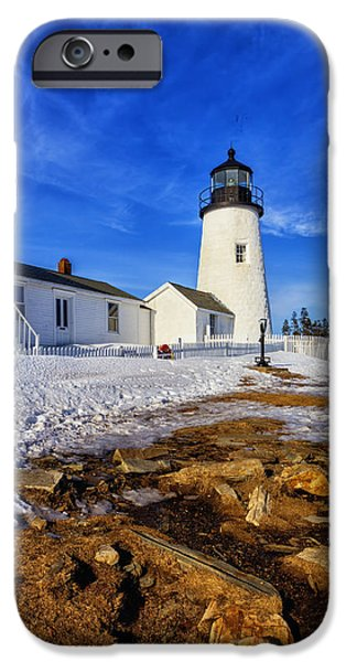 Winter In Maine iPhone Cases - Pemaquid Light In Winter iPhone Case by Tom Singleton