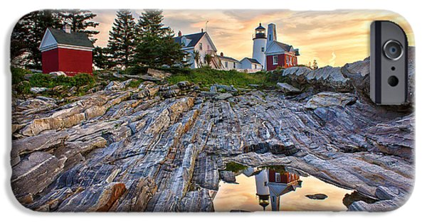 Mid-coast Maine iPhone Cases - Pemaquid Lighthouse Reflection iPhone Case by Benjamin Williamson
