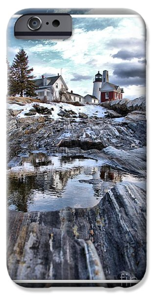 Winter In Maine Mixed Media iPhone Cases - Pemaquid Lighthouse iPhone Case by Victoria  Dauphinee