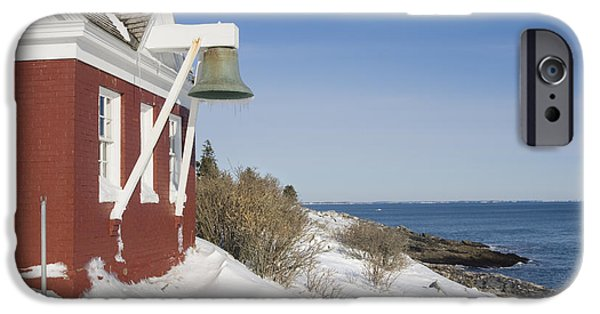 New England Lighthouse iPhone Cases - Pemaquid Point Bell House on the Maine Coast iPhone Case by Keith Webber Jr