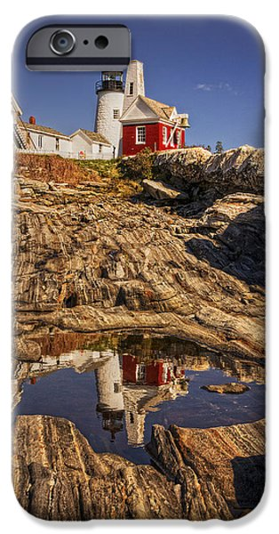 New England Lighthouse iPhone Cases - Pemaquid Point Light iPhone Case by Priscilla Burgers