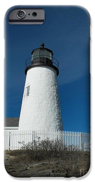 Nubble Lighthouse iPhone Cases - Pemaquid Point Lighthouse 27 iPhone Case by Joseph Marquis