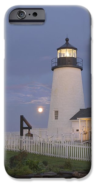 Sea Moon Full Moon Photographs iPhone Cases - Pemaquid Point Lighthouse and Moon Maine Coast iPhone Case by Keith Webber Jr