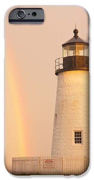 Rugged Coastline iPhone Cases - Pemaquid Point Lighthouse And Rainbow in Maine  iPhone Case by Keith Webber Jr
