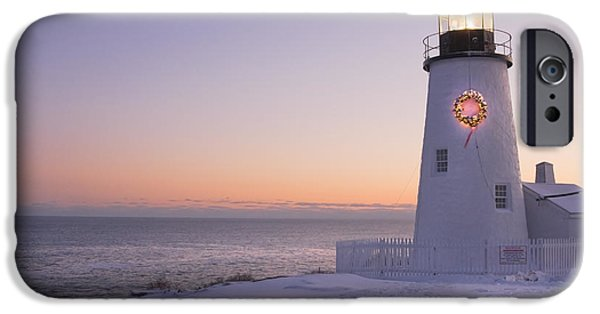 Down East iPhone Cases - Pemaquid Point Lighthouse and Snow Maine Coast iPhone Case by Keith Webber Jr