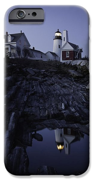 New England Lighthouse Photographs iPhone Cases - Pemaquid Point Lighthouse At Night in Maine iPhone Case by Keith Webber Jr