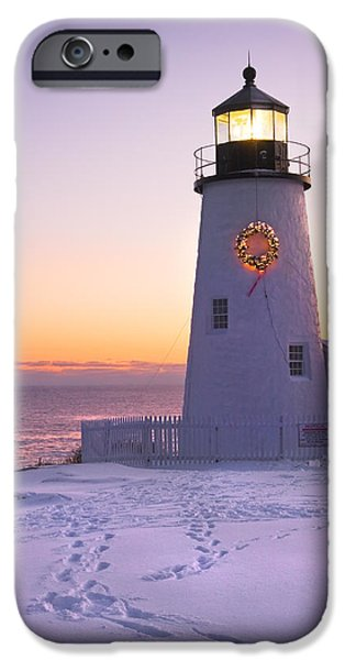 Lighthouses iPhone Cases - Pemaquid Point lighthouse Christmas Snow Wreath Maine iPhone Case by Keith Webber Jr